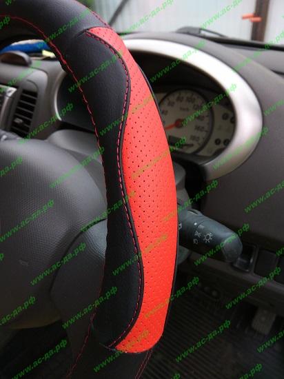 черно красная оплетка на руль из кожи